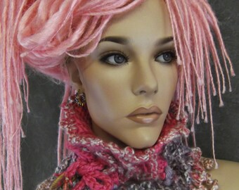 OOAK Freeform,Crochet, Collar, Scarflette, Dread-Wrap, Headband, Dreadlock Band, Hair Accessory, Headwrap,Pink,