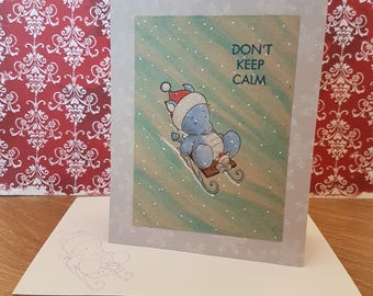 Christmas Card - sledging light blue Dragon - greeting card, snowflakes, mouse