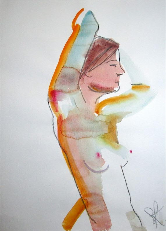 Nude painting- One minute pose 74.1  by Gretchen Kelly