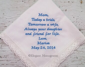 Personalized Embroidered Wedding Hanky Mother of Bride Mother of Groom Seaside Lace