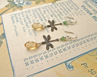 Garden earrings in golden shadow/green