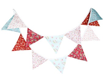3.2M 12 Pink Green flags Bunting Kid's Birthday Banner Party Decoration Bunting Photo Prop Cotton Fabric Garland Vintage Room Decor
