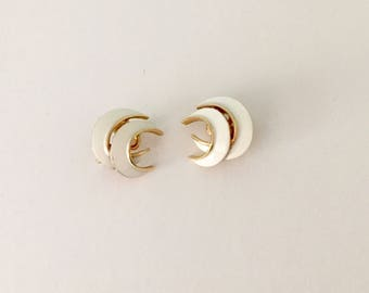 Trifari Clip On Earrings Mid Century Costume Jewelry 1960s White Gold Crescent Shape Trifari Crown