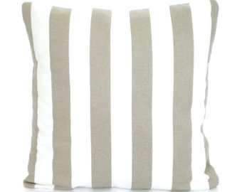 Taupe Tan White Stripe Pillow Covers, Decorative Throw Pillows, Tan Cushions, Ecru Tan White Stripe, Euro Sham, Couch Bed Sofa, ALL SIZES