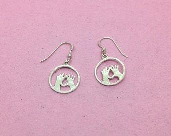 Silver Feminist Vulva Hands Earrings | Feminist Jewellery | That Feminist Jewellery