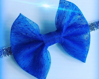 Blue Mesh Glitter Hairbow and Silver Glitter or White Holiday Headband Set
