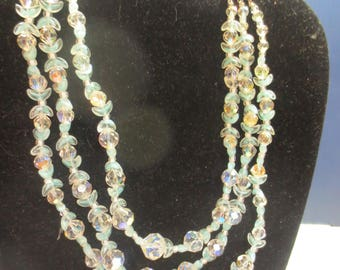 Rare Three Strand Aurora Borealis Crystal Necklace Blue Hue