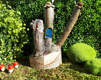 Woodland Fairy House with Deep Blue Front Door and Beaded Garland