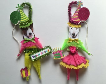 Bull Terrier BIRTHDAY ornaments DOG ornaments vintage style chenille ORNAMENTS set of 2