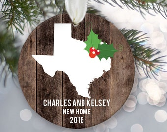 State Love Personalized Christmas Ornament Wood New Home Ornament Housewarming Gift State Pride Custom Ornament First Home OR561