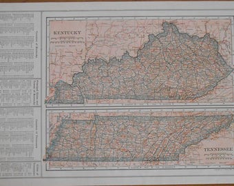 Vintage Map of Kentucky and Tennessee, 1918 antique US State map