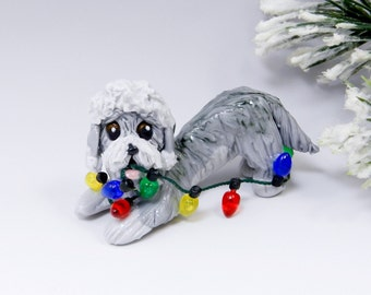 Dandie Dinmont Terrier Pepper Christmas Ornament Figurine Lights Porcelain Clearance