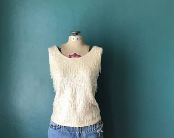 Vintage Sequin Top, Sequin Tank Top, Vintage Beaded Shell, Sequin Tank, Sequin Beaded Tank, Fringe Sweater, TaraLynEvansStudio