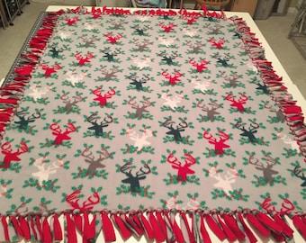 Fleece Tie Blanket in a Christmas Reign Deer Print