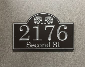 Ginkgo Engraved House Number Sign