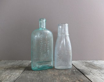 Vintage Glass Bottles - Set of 2 / Antique Glass Bottles / Blue Glass Bottle