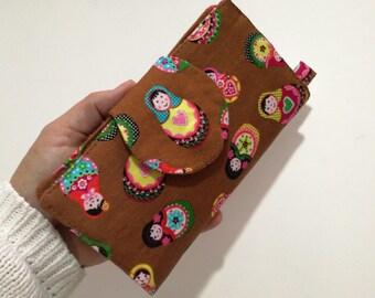 Wallet, Travel Wallet, Long Wallet for Women, Credit Card Wallet, Handmade Wallet Organizer, Matryoshka