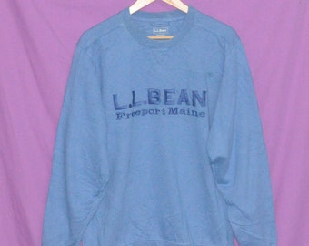Vintage 90s LL BEAN Freeport Maine Spell Out Embroidered Logo Sweatshirt  Sweater Large Size