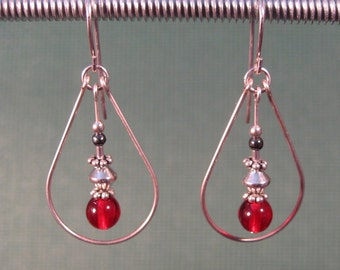 Sterling Silver Red Glass Teardrop Earrings