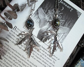 Winter Leaf Necklace, Labradorite Leaf Necklace, Forest Witch Necklace, Nature Necklace