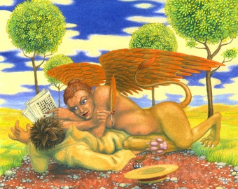 "Original surreal mythical painting: ""The Sphinx Changes the Rules"" - art by Nancy Farmer (unframed)"