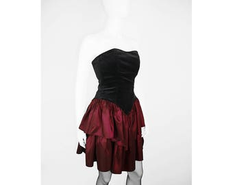 Vintage dress with velvet Bustier and Flounce skirt