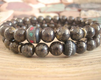 Mens Mala Bracelet Set - Bronzite Bracelets for Men with Tibetan Mala Beads, Handmade Mens Gift for Determination and Empowerment