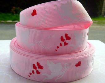 Angel heart 25mm grosgrain Ribbon sold by Red White Pink meter