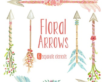 Watercolor Floral Arrows Clipart - tribal arrows, flowers, wedding invitation, hand painted