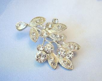 Vintage Leaf Brooch Rhinestone Crystal Silvertone