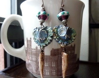 Owl with Amethyst Lampwork and Magnesite Earrings, Statement Earrings