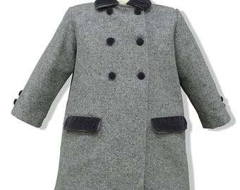 Grey double breasted children wool coat, with grey velvet ornaments. English classic model children coat authentic wool. Coats for kids