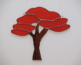 Stained Glass Autumn Tree of Life Suncatcher