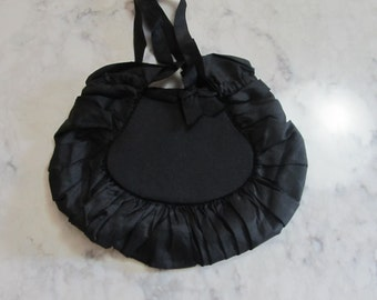 ANTIQUE Victorian Edwardian Small Black Mourning Purse with Shirred Edging-0418-00028