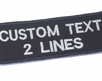 """Custom name text biker military style embroidered patch sew on or hook backing patch size 3""""x 1.5"""", 4""""x 1.5"""", 5""""x 1.5"""", 6""""x1.5"""""""