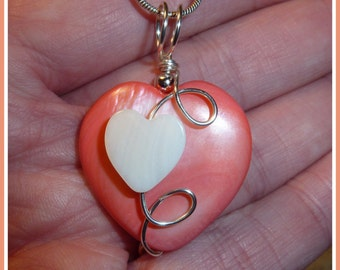 Heart Pendant, Pink Mother of Pearl in Silver, with chain, June birthstone, Valentines