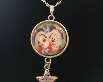 Mickey & Minnie Mouse christmas necklace