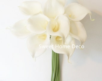 """JennysFlowerShop 15"""" Latex Real Touch Artificial Calla Lily 10 Stems Flower Bouquet for Wedding/ Home White"""