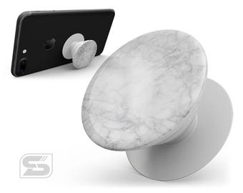 White Scratched Marble - Skin Decal Kit for the PopSocket Smartphone & Tablet Stand