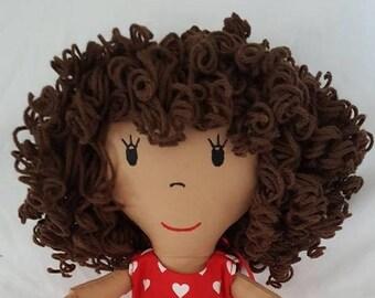 Curly Hair Custom Rag Doll, Portrait Doll, Custom Made Rag Doll, Natural Rag Doll, Personalized Rag Doll, Rag Dolls, Original Rag Doll