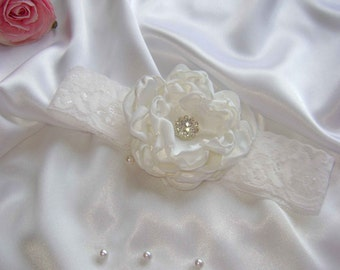 White Flower Headband for Christening or Wedding (3 different flowers)