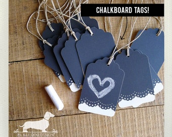 Lacey. Reusable Chalkboard Gift Tags (Set of 12) -- (Vintage-Style, Bridal Shower, Wedding Favor Tags, Baby Shower, Thank you, Custom Tags)