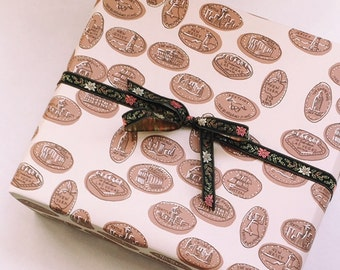 Smashed Pennies Wrapping Paper Sheet