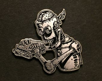 Antique silver ROBOT-SANDWICH pin