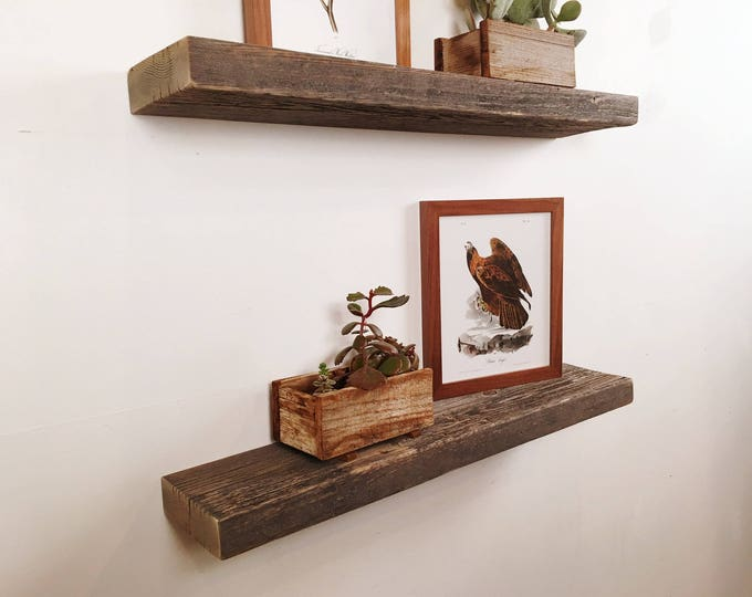 """Floating Shelf Reclaimed Wood - 24"""" Wide Rustic Float Shelf Rustic Barn Wood - 5 inches Deep - Same Day Shipping - IN STOCK"""