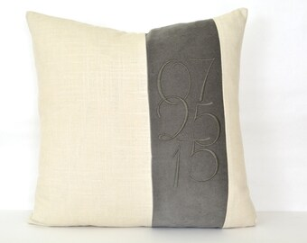 Wedding Date Pillow Cover - Personalized Wedding Gift