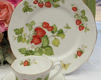 Queens Virginia Strawberries Tea Cup Trio, Fluted Tea Cup and Saucer with Large Side Plate, Vintage Tea Cup and Saucer, Bone China Tea Set