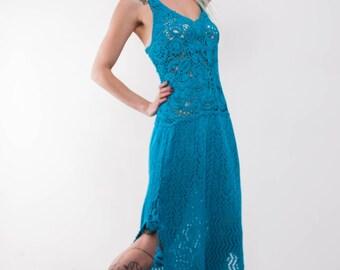 Crochet maxi dress Crochet turquoise maxi sundress Crochet blue lacy sundress turquoise viscose Dress Crochet Beachwear dress evening gown