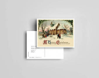 Vintage Church Scene Christmas Postcards