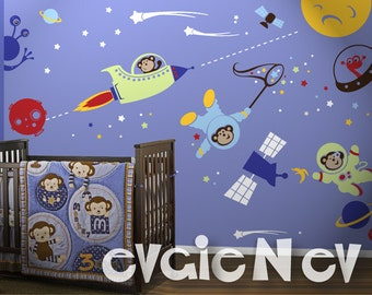 Space Monkey Wall Decals - Outer Space Aliens and Stars Wall Stickers - To Infinity and Beyond - PLOSM030